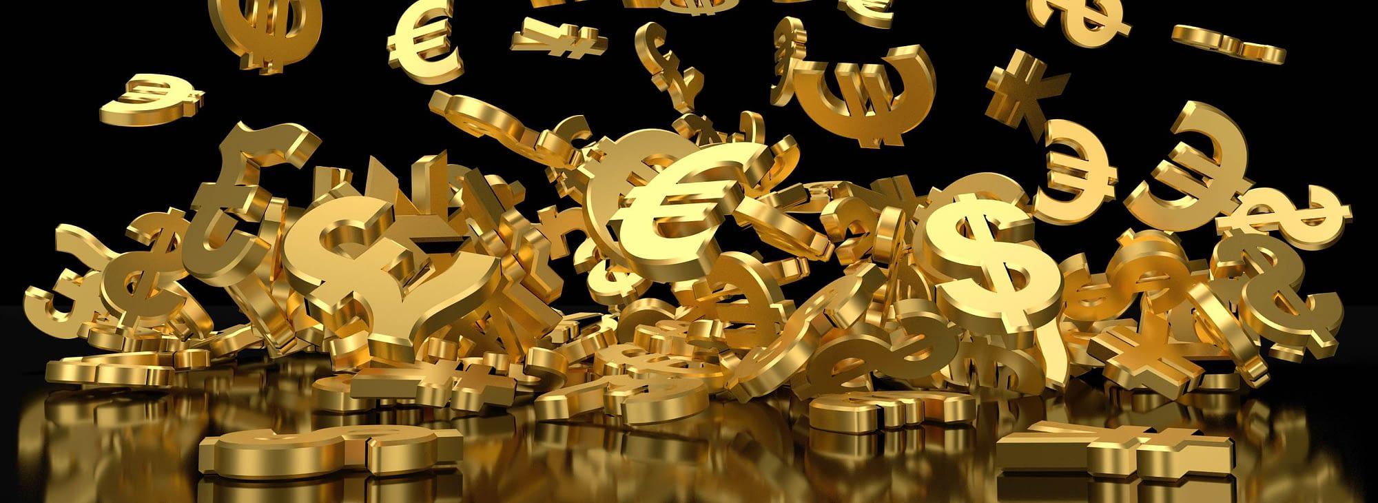 3D padajuće oznake valuta – ilustracija